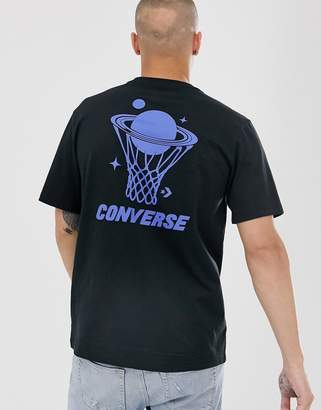 Converse back print t-shirt in black