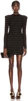 Balmain Short Logo Stripe Dress in Black | FWRD