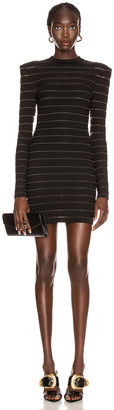Balmain Short Logo Stripe Dress in Black | FWRD