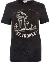 River Island Womens Black washed San Tropez print T-shirt