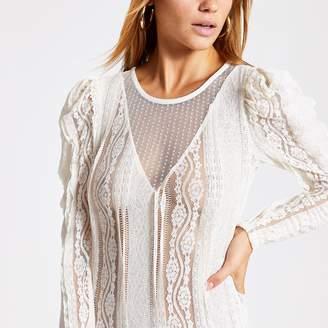River Island Womens Cream sheer lace long sleeve bodysuit