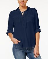 Amy Byer Juniors' Lace-Up Roll-Tab Top