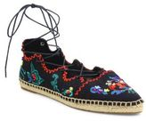 Tory Burch Sonoma Embroidered Lace-Up Espadrille Flats