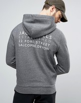Jack Wills Batsford Graphic Hoodie with Back Print in Charcoal Marl