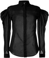 Saint Laurent sheer puff-sleeve shirt - women - Cotton/Polyamide - 36