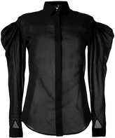 Saint Laurent sheer puff-sleeve shirt - women - Cotton/Polyamide - 38
