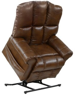 Red Barrel Studio Colquitt Faux Leather Power Recliner Fabric: Chestnut Faux leather
