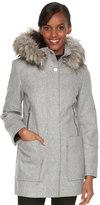 Women's Towne by London Fog Faux-Fur Hooded Wool Blend Coat