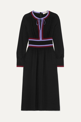 Diane von Furstenberg Cherry Striped Silk-crepe Midi Dress - Black