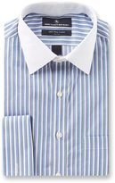 Hart Schaffner Marx Non-Iron Fitted Classic-Fit Spread Collar Striped Dress Shirt with French Cuffs
