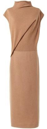 Agnona Gathered Cap-Sleeve Mockneck Knit Dress