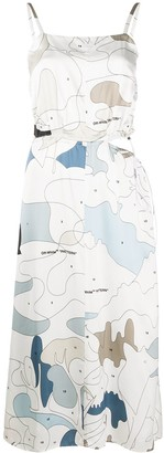 Off-White Cut-Out Drawstring-Detail Midi Dress
