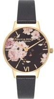 Olivia Burton Flower Show Leather Strap Watch, 30mm
