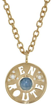 Marlo Laz Aquamarine and Pearl En Route Coin Necklace - Yellow Gold