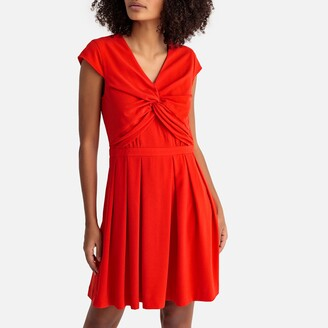 Suncoo Flared Draped Skater Dress with Short Sleeves
