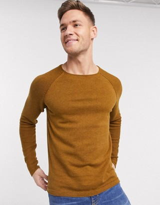 Selected roll hem crew neck jumper in tan-Brown