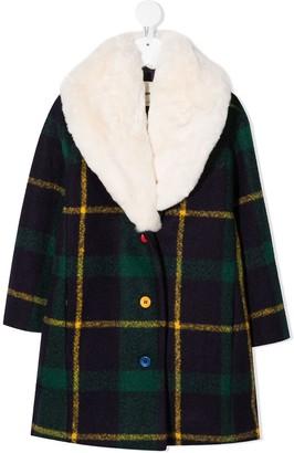 Bobo Choses Plaid Faux-Fur Lapel Coat