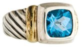 David Yurman Two-Tone Blue Topaz Noblesse Cocktail Ring