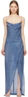 Balmain Blue Silk Denim Print Strap Dress