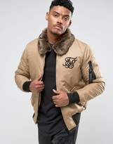 SikSilk Bomber Jacket In Stone With Fleece Collar