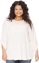 Motherhood Plus Size Knit Woven Combo Maternity Top.