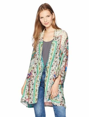 Johnny Was Women's Printed Silk Kimono with Tie
