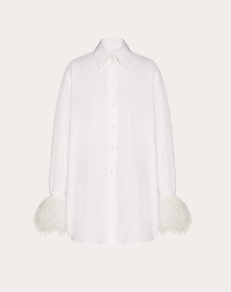 Valentino Poplin Shirt With Feathers Women White 100% Cotone 38
