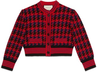 Gucci Houndstooth wool cropped cardigan