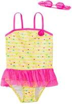 Jump N Splash Girls' Baby Heart Skirted One Piece Swimsuit w/ Free Goggles (46X) - 8143045