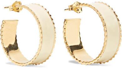 Alison Lou Lasagna Small Enameled 14-karat Gold Hoop Earrings