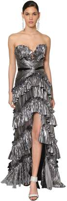 Raisa & Vanessa Ruffled Metallic Jersey Dress