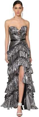 Ruffled Metallic Jersey Dress