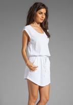 C&C California Slub Jersey/Mesh Mix Cap Sleeve Dress With Mesh Details