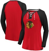 Women's Fanatics Branded Red/Black Chicago Blackhawks Plus Size Break Out Play Lace-Up Long Sleeve V-Neck T-Shirt