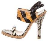 Prada Snakeskin Round-Toe Sandals