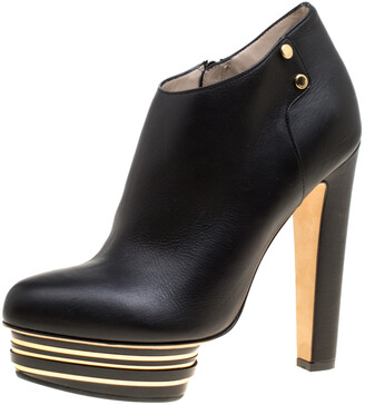 Le Silla Enio Silla For Black Leather Platform Booties Size 38.5