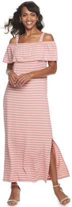 Nina Leonard Women's Popover Knit Striped Maxi Dress With Detachable Straps