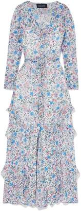 Saloni Izzie Ruffle-trimmed Floral-print Silk-georgette Maxi Dress