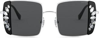 Miu Miu Noir crystal-embellished square-frame sunglasses