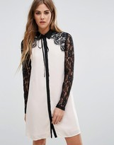 Fashion Union Lace Detailed Shift Dress With Tie Neck