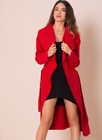 Missy Empire Shay Red Waterfall Drape Coat
