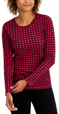 Charter Club Cotton Houndstooth Top, Created for Macy's