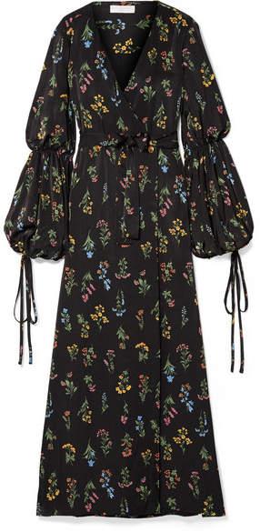 Caroline Constas Doria Floral-print Sateen Wrap Maxi Dress - Black