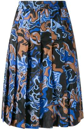 Marni colour-block pleated skirt