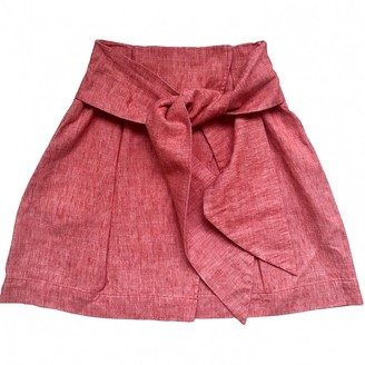 MSGM Orange Linen Skirt for Women