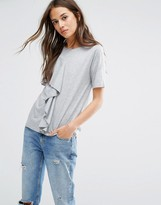 Warehouse Asymmetric Ruffle Tee
