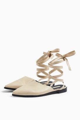Topshop LUNA Ecru Leather Ankle Tie Point Shoes