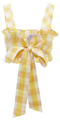 Thierry Colson Valentina Gingham Cotton-blend Cropped Top - Yellow Multi