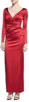 Talbot Runhof Gobelina Long-Sleeve Surplice Gown, Red