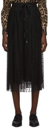 Dolce & Gabbana Black Tulle Pleated Polka Dot Skirt